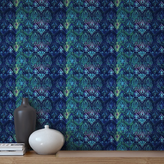 Peel and Stick Blue Wallpaper, Indian Decor Adhesive Wallpaper Roll, Boho  Bedroom Accent Wall Decor