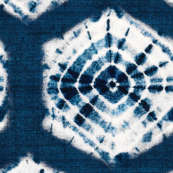 Blue Tie Dye Fabric By The Yard Bohemian Upholstery Blue And Etsy