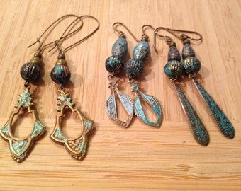 Turquoise metal ear rings