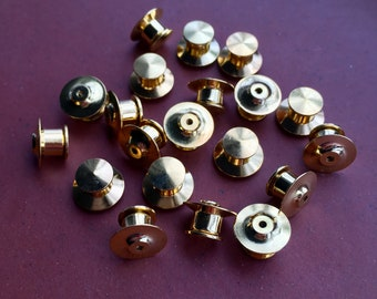 12 PACK BRASS OR CHROME PIN LOCKS PIN SAVER NEVER LOSE A BADGE AGAIN