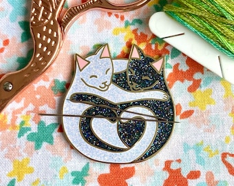 Black and White with Glitter Cuddling Cats Hard Enamel Pin Iridescent and Rainbow Glitter Limited Edition of 100