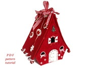 Gingerbread house sewing pattern Christmas village Fairy house PDF pattern