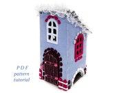 Christmas village sewing pattern Putz house Felt fairy house PDF pattern