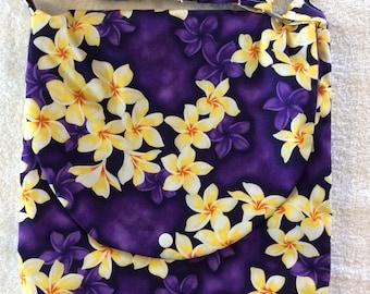 Hawaiian Print-Plumeria Purple Small Flowers Adjustable Shoulder Bag