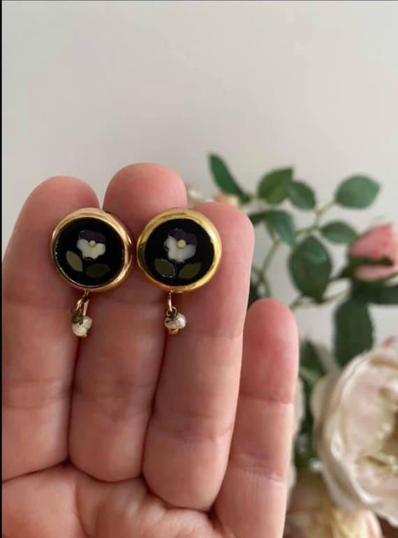 Antique Art nouveau pietra dura pansy earrings