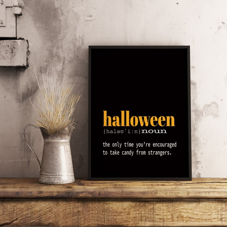 Marvelous Halloween Printable Decor, Halloween Definition Poster, Digital Download:  4x6, 5x7, 8x10, 11x14, 18x24, 24x36