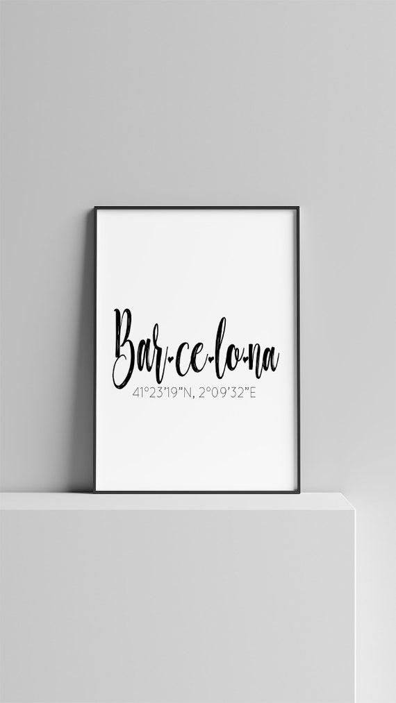 Barcelona Print Printable, Barcelona City Coordinates Poster Digital  Download: 4x6, 5x7, 8x10, 11x14, 18x24, 24x36