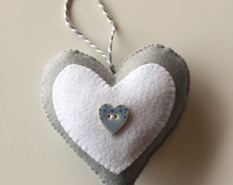 Homemade felt heart. Made to order. Personalisation available.