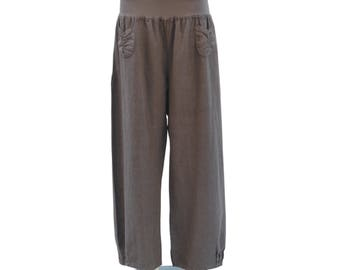 Plus Size 12 14 16 18  Womens Lagenlook Quirky Linen Trousers Pants Pockets New 1X 2X  2163