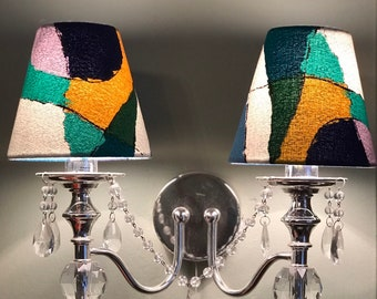 Fabric wall lamp etsy lampshades multicoloured candle clip heals vintage fabric wall table lamp shade lighting aloadofball Image collections