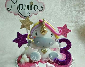 Cake Topper, decoration for pie with unicorn, birthday, baptism, bimbo, baby.