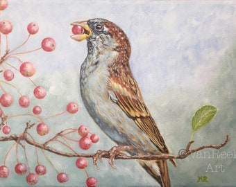 """Sparrow, Acrylic Painting,  7.1""""x 9.4""""x 0.6""""on a stretched canvas"""