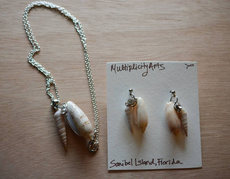 Post Earrings and 26 Chain Necklace with Pendant Sanibel Island Seashell Jewelry Set Lettered Olive Shells Horn Snail Shells Crystals,