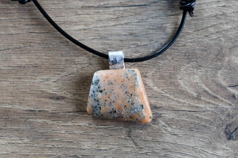 Presque Isle Boho Lake Erie Syenite Beach Stone Pendant Necklace hammered aluminum bale adjustable black leather cord Artisan Jewelry