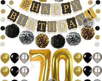 70th Birthday Centerpieces In Gold And Black 70 Party Decorations Anniversary Centerpiece Set Of