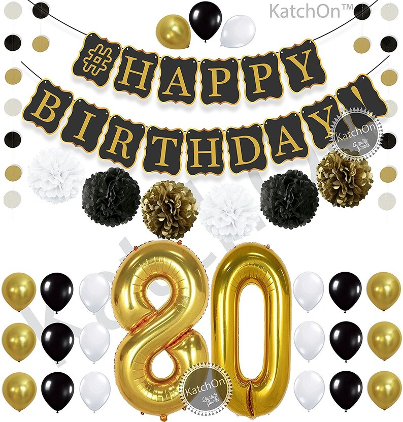 80th BIRTHDAY DECORATIONS Party Kit Happy Birthday Banner