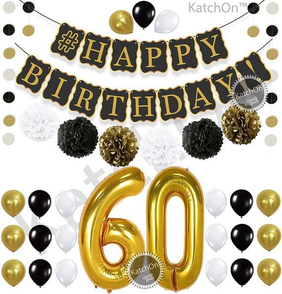 60th BIRTHDAY PARTY DECORATIONS Kit Happy Birthday Black
