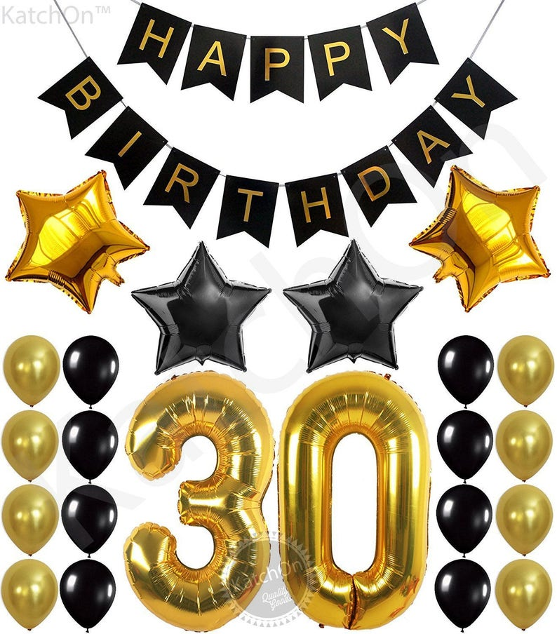 30th BIRTHDAY PARTY DECORATIONS Kit Happy Birthday Banner