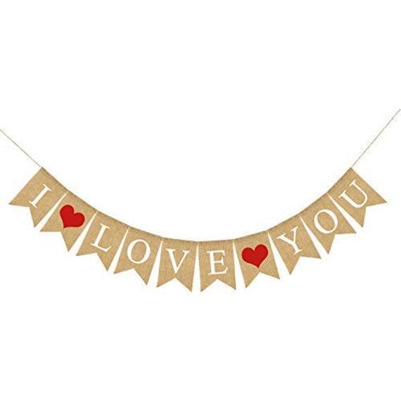 LOVE Burlap Heart Banner Assembled Banner Valentines Decorations Valentines Day Banner Sign for Engagement No DIY Wedding Valentines Garland Valentines Day Decorations Anniversary Decor
