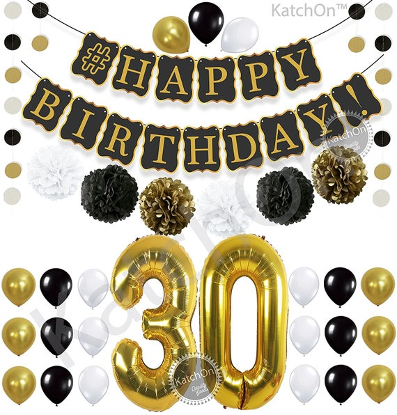 Black /& Gold 30th Birthday Foil Bunting Pennant Banner Party Decoration