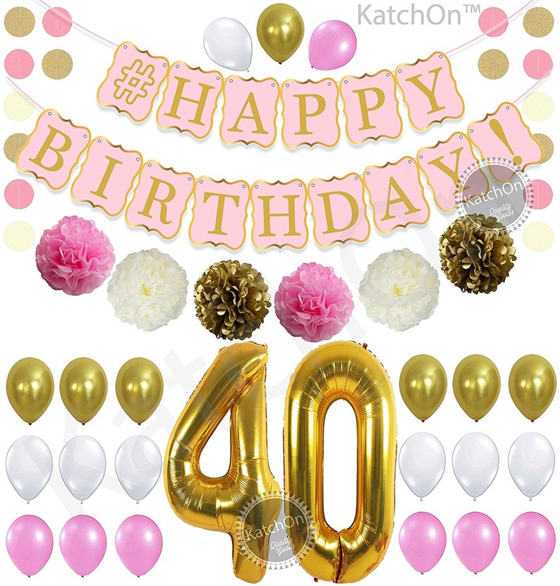 PINK 40th BIRTHDAY DECORATIONS Balloons Banner Happy Birthday