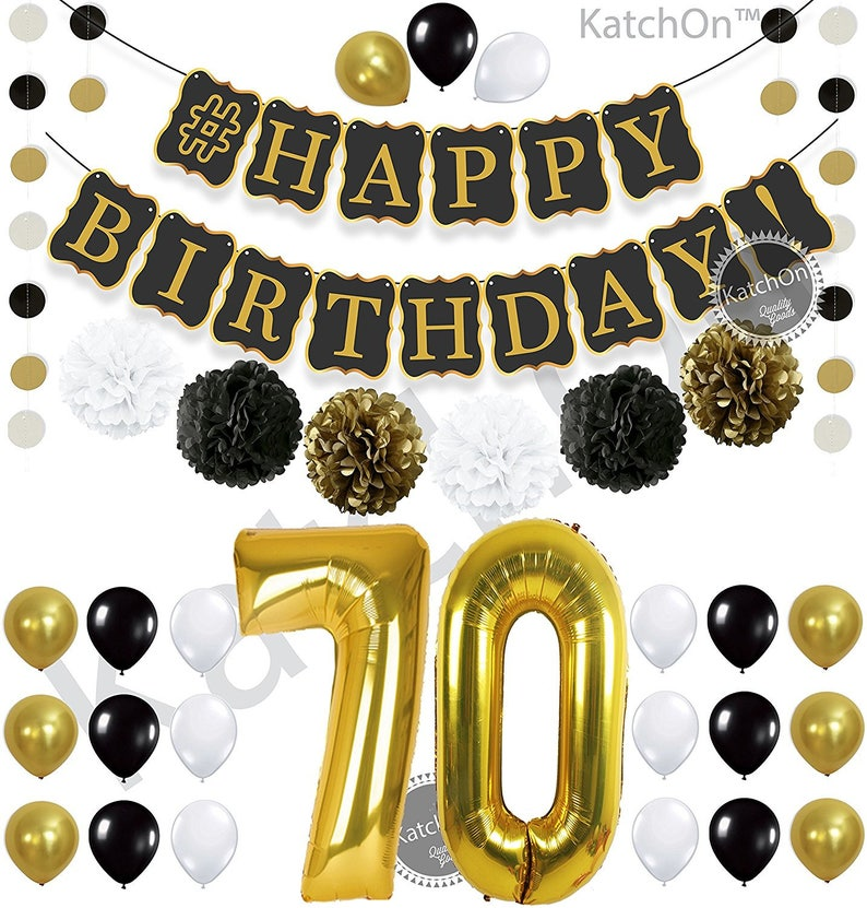 Black 70th BIRTHDAY DECORATIONS PARTY Kit Gold And