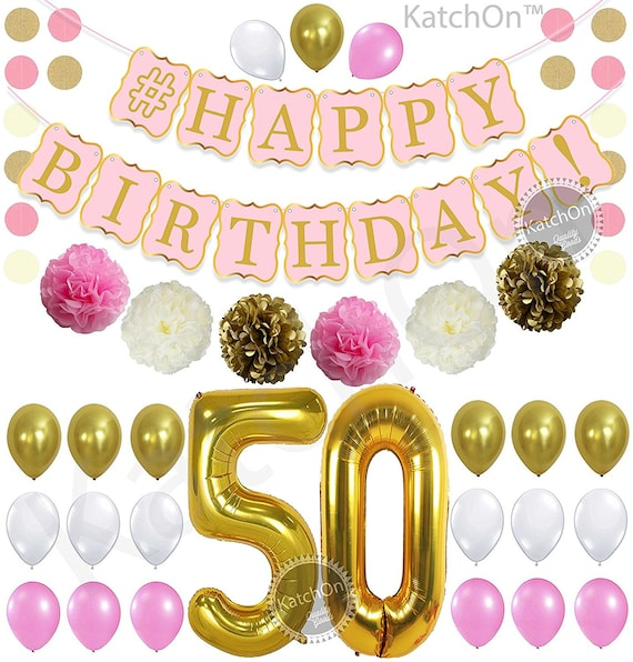 PINK 50th BIRTHDAY DECORATIONS Balloon Banner Happy Birthday