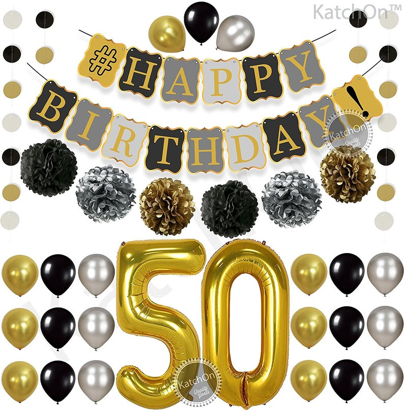 50th BIRTHDAY DECORATIONS BALLOON Banner Happy Birthday