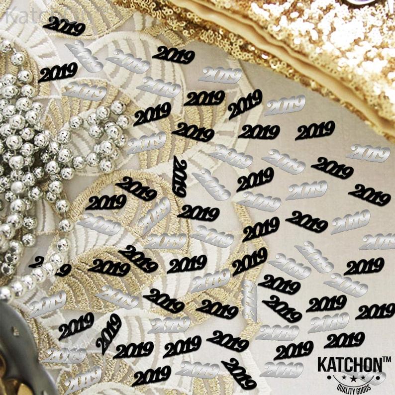 1.5 Oz Black and Silver Pack of 1000 Graduation Confetti Graduation Party Graduation Table Decorations KatchOn 2019 Confetti