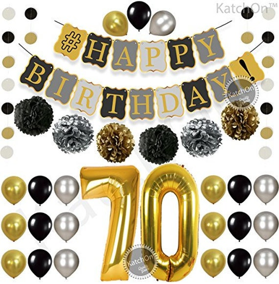 Gold Number 80 Ballon Black 80th BIRTHDAY DECORATIONS PARTY KIT Great 80 Year Old Party Supplies KATCHON Black Gold and White PomPoms 80th Birthday Party Decorations Latex Balloons