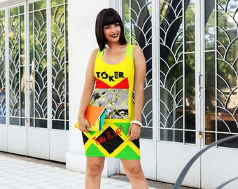 Colorful Jamaican Cannabis Dress, TOKER, Weed Bodycon Dress, Stoners Marijuana Clothing Gift, 420 Festival Clothing, Designer Weed Clothes