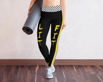 Weed Leggings Lit & Fit  for 420 Festival - Marijuana Leaf Print Black Yellow Yoga Pants - Weed Clothing Gifts for Stoners, Cannabis Clothes