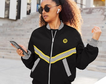 Cannabis Bomber Jacket with Weed Leaf Print, Black and Yellow 420 Festival - Unisex Marijuana Print Yoga Track Top Lit & Fit, Weed Clothes