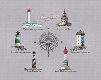 Cross Stitch pattern PDF Guardians of the seas lighthouses of the world