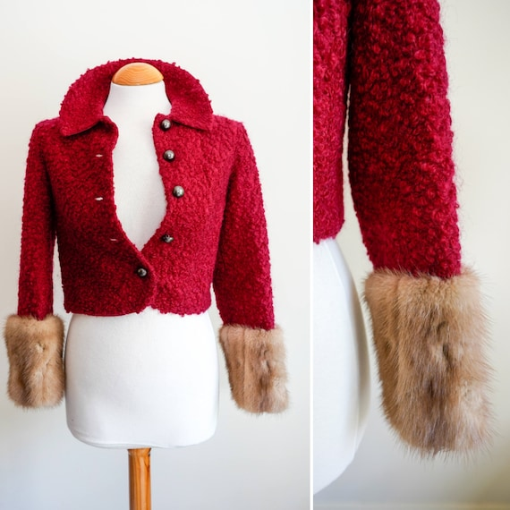 1950s Red Boucle Cropped Wool Jacket - Blonde Fur