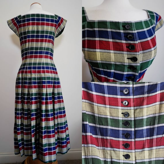 Rainbow! 1940s 1950s Chequered Drop-waist Full Ski