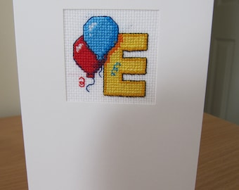 Cross Stitched Card with letter E
