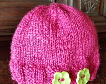 Cozy knitted girl baby hat