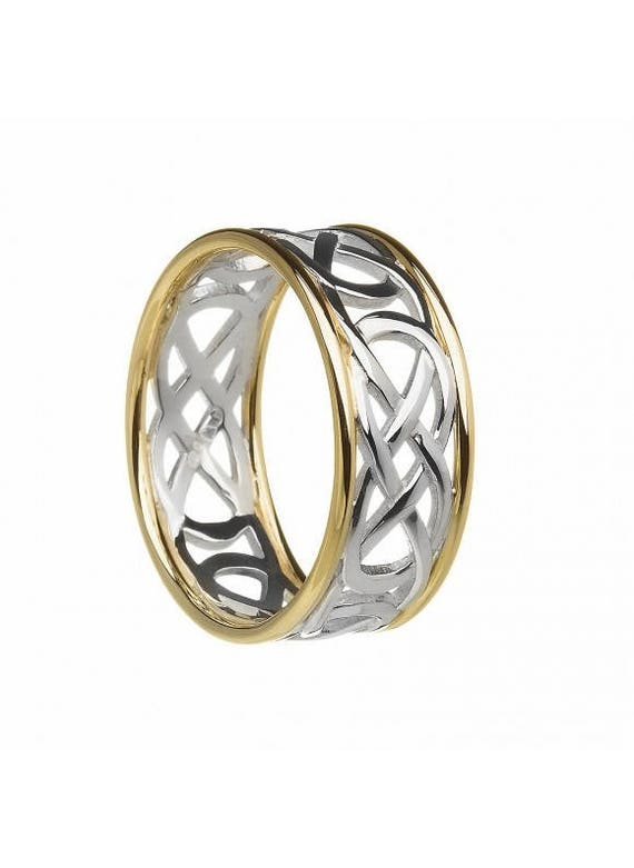 c1c0cd51930 Gent Celtic Knot band. Two tone ring.