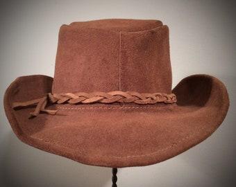 af08bff0f6cfa 1990 s VINTAGE HANDMADE Distressed Brown LEATHER Wide Brim Hat Fedora Lid  Suede Outback Hippie Hillbilly Boho Aussie Outback