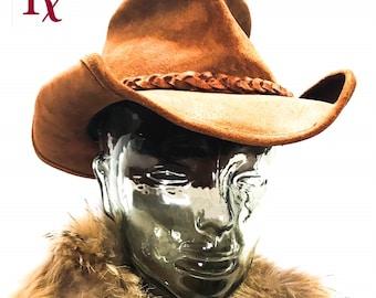 9b28f3ef447 VINTAGE Men s MINNETONKA HAT Size M Raw Handmade Heavy Distressed Brown  Leather Biker Hippie Boho Cowboy Australian Outback