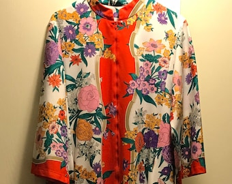 Vintage Evelyn Pearson Kaftan Floral & Red Detail M/L fit