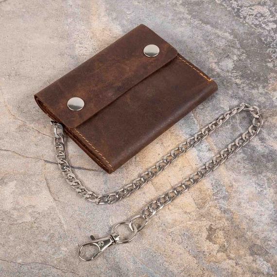 Men/'s Brown Biker/'s Wallet with 18 Inch Long Metal Chain to Hang