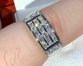 2 Ct Round Cut VVS1 Diamond Wedding Men/'s Band Ring Solid 14K Rose Gold Finish