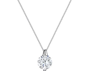 1.2 Ct Solitaire D//VVS1 Signity Diamond Necklace Crafted In Sterling Silver