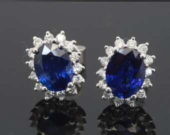 280e96462 1.15ct Genuine Natural Diamond 10k Solid White Gold Blue Sapphire Stud  Earring For Women