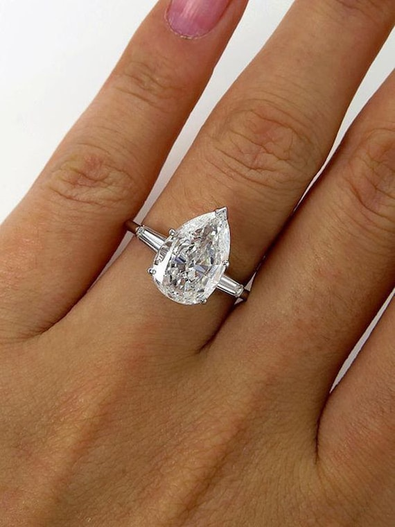 White Pear Cut Diamond Solitaire In 925 Sterling Silver Promise Engagement Ring