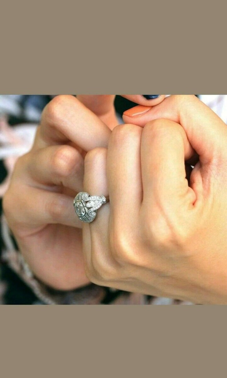 Vintage Art Deco Engagement Ring 2.3ct Cushion Cut Diamond White Gold Over