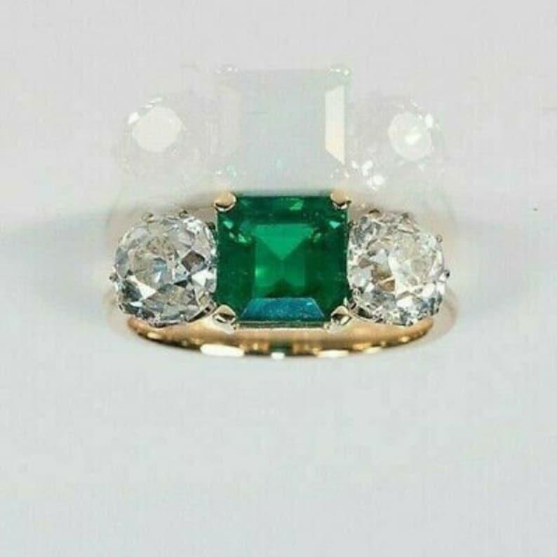 4 Ct Asscher Emerald /& Diamond 3-Stone Art Deco Wedding Ring 14k Yellow Gold Over