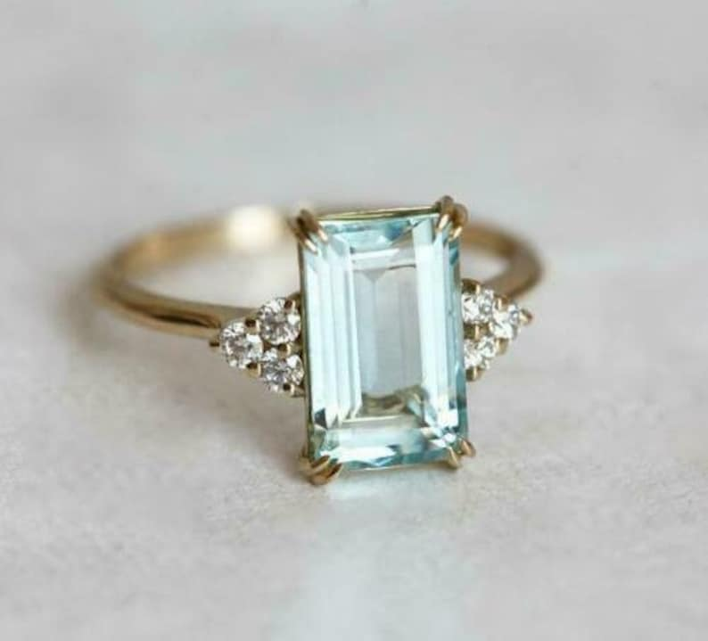 2.00 Ct Emerald Cut Moissanite Solitaire Engagement Ring 14K White Gold Over